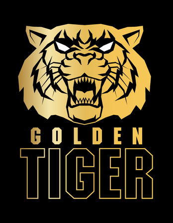 Golden tiger face label