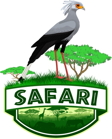 vector african savannah safari emblem with bird (Sagittarius serpentarius)