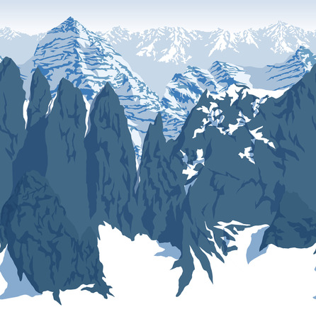 A vector Himalaya alps mountains background texture seamless pattern