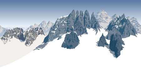 Alpine landscape with peaks covered by snow. Illustration