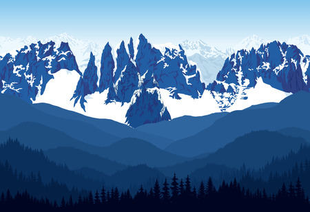 Seamless vector blue, beautiful mountains with forest panorama pattern.