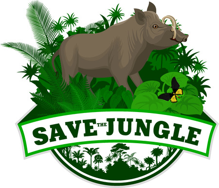 Vector Jungle Emblem with north Sulawesi babirusa and butterfliy