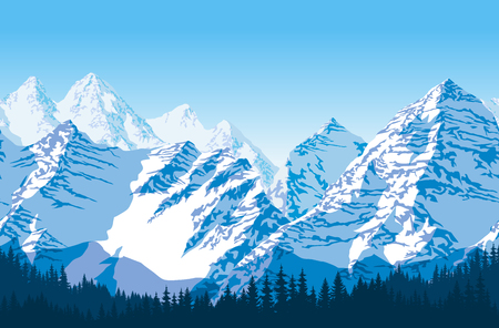 Seamless vector blue beautiful mountains with forest panorama pattern.
