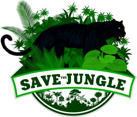 Vector jungle embleem met zwarte panter luipaard jaguar Stock Illustratie