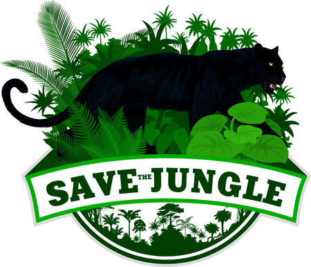 Vector jungle emblem with black panther leopard jaguar