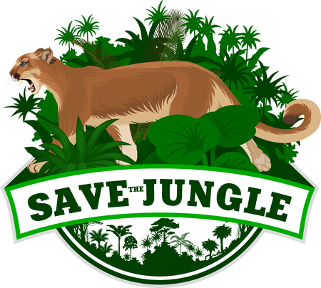 Vector jungle emblem with mountain lion cougar Illustration
