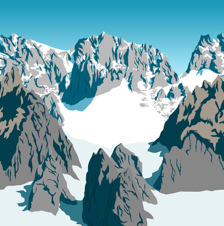 vector Rocky mountains alps background texture seamless pattern