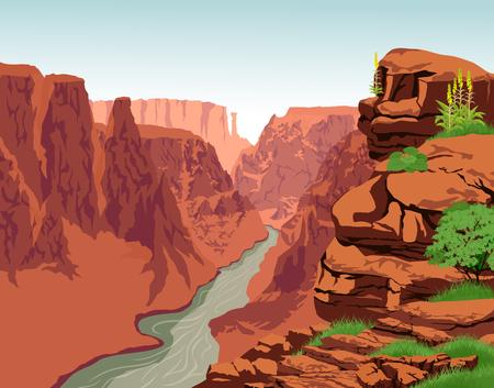 Vector Colorado river in Grand Canyon National Park