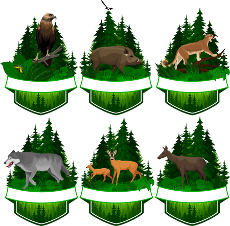 set of vector woodland emblems with eagle, wolf, deer and hog boar illustration.