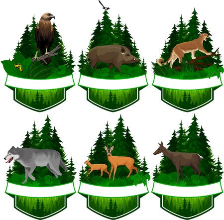 set van vector bos emblemen met adelaar, wolf, herten en zwijnen illustratie.