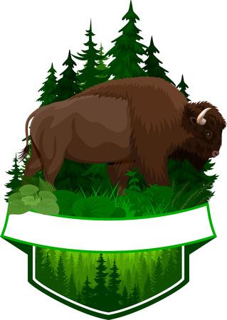 茶色のズブルバッファローバイソンとベクトル森林エンブレム  イラスト・ベクター素材