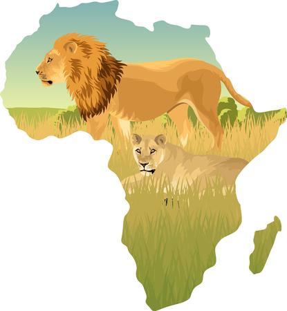 Afrikaanse savanne met leeuw en leeuwin - vectorillustratie.
