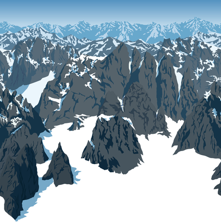 Vector Swiss alps mountains background texture seamless pattern.