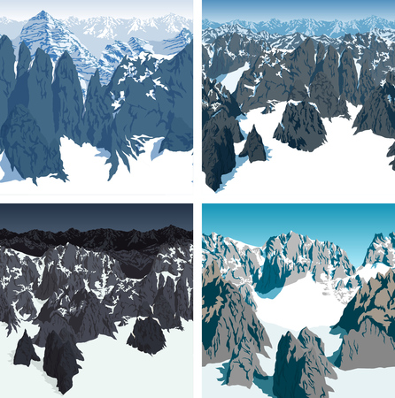 Set of vector swiss alps mountains background pattern seamless patterns