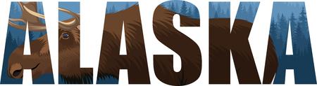 vector Alaska - American state word with moose 일러스트