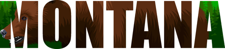 vector Montana - American state word with grizzly bearl and mountains forestland forest