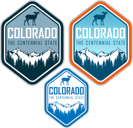colorado vector label with bighorn sheep and mountains forest