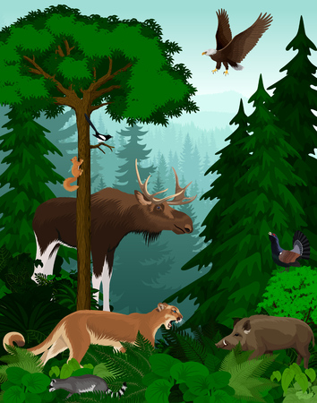 vector woodland green forest trees backlit with animals