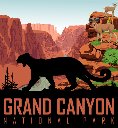 Vector Colorado river in Grand Canyon National Park with mountain lion and bighorn sheeps Illustration