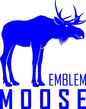 Vector moose bull icon emblem design