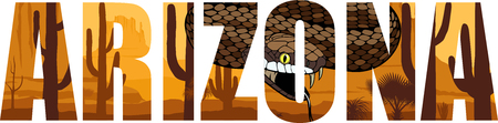 Vector Arizona - American state word with rattlesnake in desert.