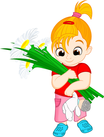 Vector cute kid girl with flowers chamomiles illustration. Stock Illustratie