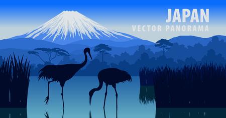 Panorama of Japan with mountain and crane on Kawaguchiko lake vector illustration.