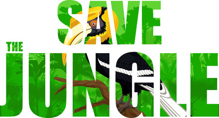 Vector tropical rainforest illustration with yellow billed great hornbill (Save the jungle)