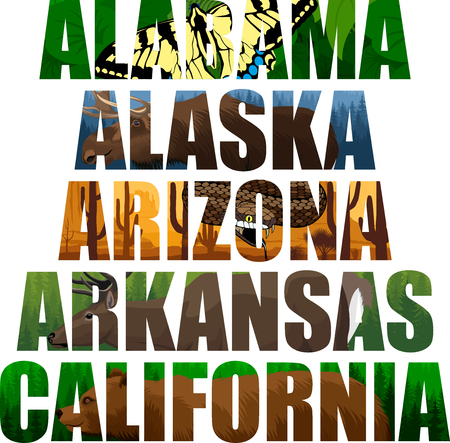 vector set of American states word with animals - Alabama, Alaska, Arizona, Arkansas, California