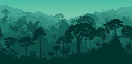 Horizontal vector seamless tropical rain forest jungle background.