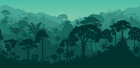 Horizontal vector seamless tropical rain forest jungle background.