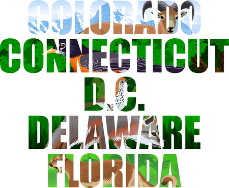 vector set of American states word with animals - Colorado, Connecticut, DC, Delaware, Florida