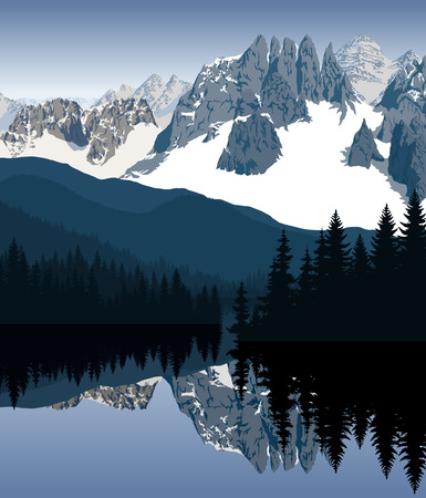 A Vector illustration  lake in the morning mountains