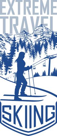 Vector skiing travel flyer illustration design.