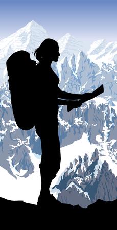 Alpen berglandschap in Europa Zwitserland en meisje met kaart Vector Illustratie