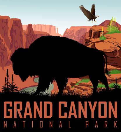 Vector río Colorado en el Parque Nacional del Gran Cañón con búfalo y águila calva