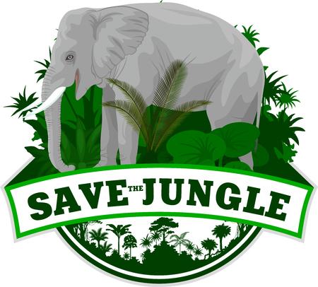 Vector Jungle rainforest Emblem with elephant Иллюстрация