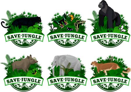 Vector set of Jungle rainforest Emblems with elephant, puma cougar, panther, gorilla, wild hog, babirusa and buttrflies Illustration