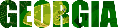 vector Georgia - American state word with green tree frog
