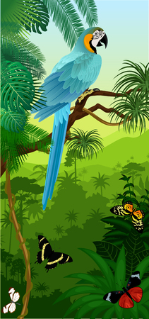 Vector Jungle rainforest vertical baner with parrot Blue and yellow Macaw and butterflies Ilustração