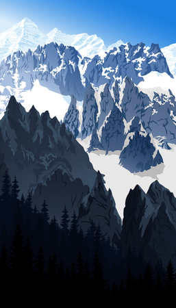 vector morning Mont Blanc in alps mountain landscape