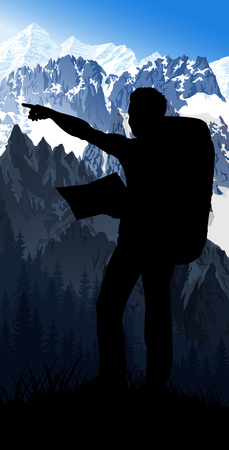 vector traveler with map in the morning Mont Blanc in alps mountain landscape