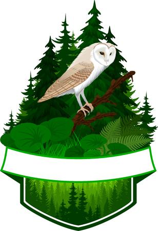emblème des bois avec chouette effraie
