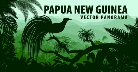 vecteur panorama de la Papouasie-Nouvelle-Guinée avec un petit oiseau de paradis