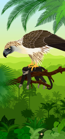 Vector Jungle rainforest vertical baner with philippine Eagle with monkey