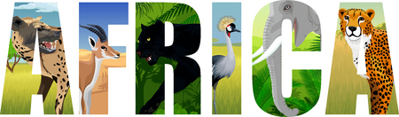 vector Africa illustration with elephant, spotted hyena, crowned crane, gazelle, cheetah and black panther