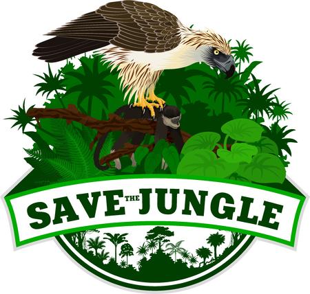 Jungle Emblem with philippine Eagle - Pithecophaga jefferyil with monkey