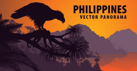 panorama of Philippines with philippine Eagle - Pithecophaga jefferyil and monkey Illustration