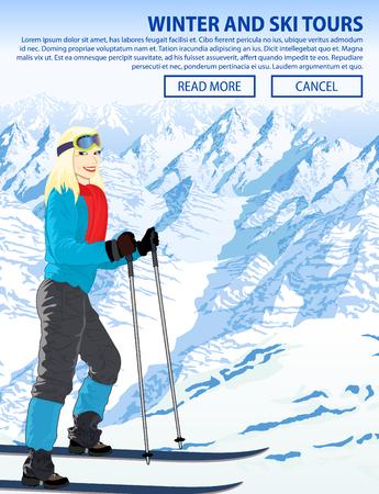 Ilustración de deportes de nieve de invierno con niña en la estación de esquí de las montañas