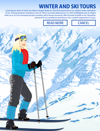 Winter snow sports illustration with girl in mountains ski resort